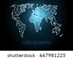 abstract world map with modern...   Shutterstock .eps vector #667981225