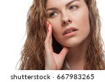 close up view of pensive blonde ... | Shutterstock . vector #667983265