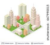 isometric city popular...   Shutterstock .eps vector #667990015