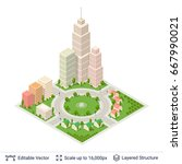 isometric city popular... | Shutterstock .eps vector #667990021