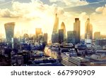 business banking sunset city | Shutterstock . vector #667990909