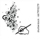 vector illustration of pen with ... | Shutterstock .eps vector #667993279
