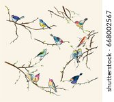 watercolor birds. vintage... | Shutterstock .eps vector #668002567