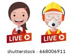 red gradient live stream sign... | Shutterstock .eps vector #668006911