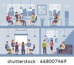 people in coworking office... | Shutterstock . vector #668007469