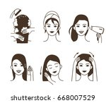 woman take care about her hair.... | Shutterstock . vector #668007529