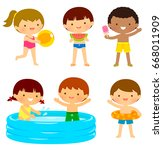 young kids in swimsuits playing ... | Shutterstock . vector #668011909