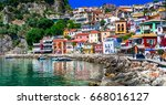 beautiful colorful coastal town ... | Shutterstock . vector #668016127