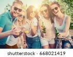 group of friends drinking ... | Shutterstock . vector #668021419