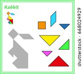 chinese puzzle tangram. cut and ... | Shutterstock .eps vector #668024929