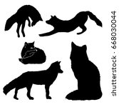set of silhouettes of foxes.... | Shutterstock .eps vector #668030044