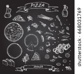 vector illustration. pizza and... | Shutterstock .eps vector #668031769