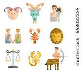 zodiac signs flat set of... | Shutterstock .eps vector #668032339
