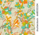 tropical seamless pattern with... | Shutterstock .eps vector #668033104