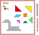 chinese puzzle tangram. cut and ... | Shutterstock .eps vector #668034085