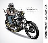 senior biker riding a chopper...   Shutterstock .eps vector #668035915