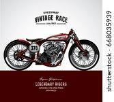 vintage motorcycle poster | Shutterstock .eps vector #668035939