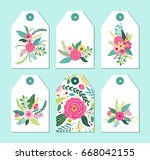 cute gift tags set with rustic... | Shutterstock . vector #668042155