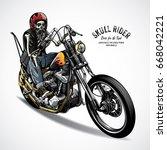 skeleton riding motorcycle... | Shutterstock .eps vector #668042221