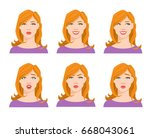 collection of woman's emotions. ...   Shutterstock .eps vector #668043061