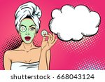 wow face. sexy young  woman... | Shutterstock .eps vector #668043124
