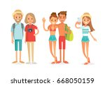 vector people on summer vacation | Shutterstock .eps vector #668050159