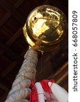 Stock photo golden big bell japanese shinto shrine 668057809