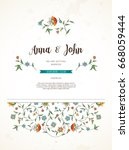 vector vintage wedding... | Shutterstock .eps vector #668059444