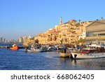 old town and port of jaffa of... | Shutterstock . vector #668062405