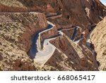 rood with hairpin curves in... | Shutterstock . vector #668065417
