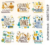 music and rock decorative... | Shutterstock .eps vector #668073619