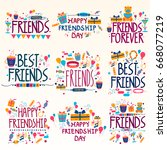 happy friendship day holiday... | Shutterstock .eps vector #668077219