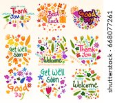 wishing and greetings for thank ... | Shutterstock .eps vector #668077261