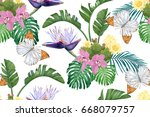 tropical leaves  cacti  flowers ...   Shutterstock .eps vector #668079757