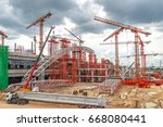 cranes on construction of...   Shutterstock . vector #668080441
