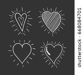 hand drawn hearts icons set.... | Shutterstock .eps vector #668084701