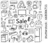 sale household appliances hand... | Shutterstock .eps vector #668086711