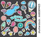 unicorn sweet set of stickers ... | Shutterstock . vector #668089405