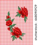 embroidery roses on checkered...   Shutterstock .eps vector #668090929