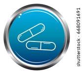 capsule pills outline blue icon | Shutterstock .eps vector #668091691