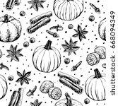 handwritten pumpkin spice... | Shutterstock .eps vector #668094349