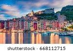 magnific sunrise in portovenere ... | Shutterstock . vector #668112715