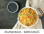 a bowl of instant chinese... | Shutterstock . vector #668116621