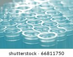 science blue test pipette plastic tips - stock photo
