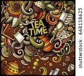 cartoon hand drawn doodles cafe ... | Shutterstock .eps vector #668118625