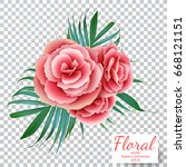 vector pink rose on a... | Shutterstock .eps vector #668121151