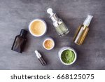 bottles and jars with natural... | Shutterstock . vector #668125075