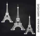 hand drawn eiffel towers set on ... | Shutterstock .eps vector #668143141