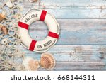 nautica background with safety... | Shutterstock . vector #668144311