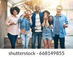 expressive multiethnic group of ... | Shutterstock . vector #668149855